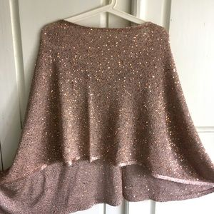 ALFANI Rose Gold Poncho with Sequins
